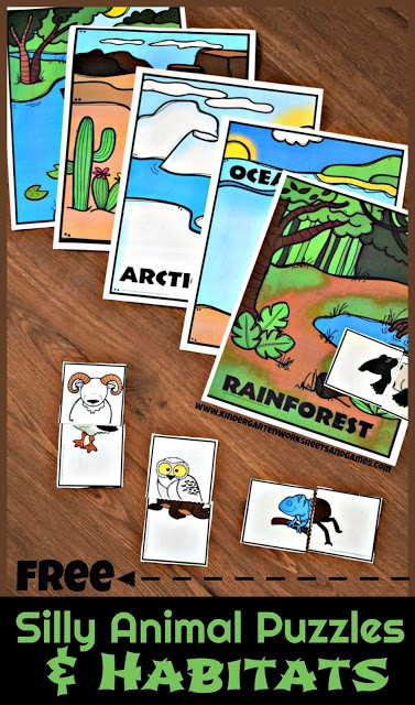 Silly Animal Puzzles and Habitats Free Printable