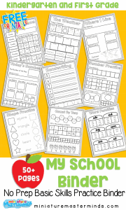 Kindergarten and First Grade Skills Book