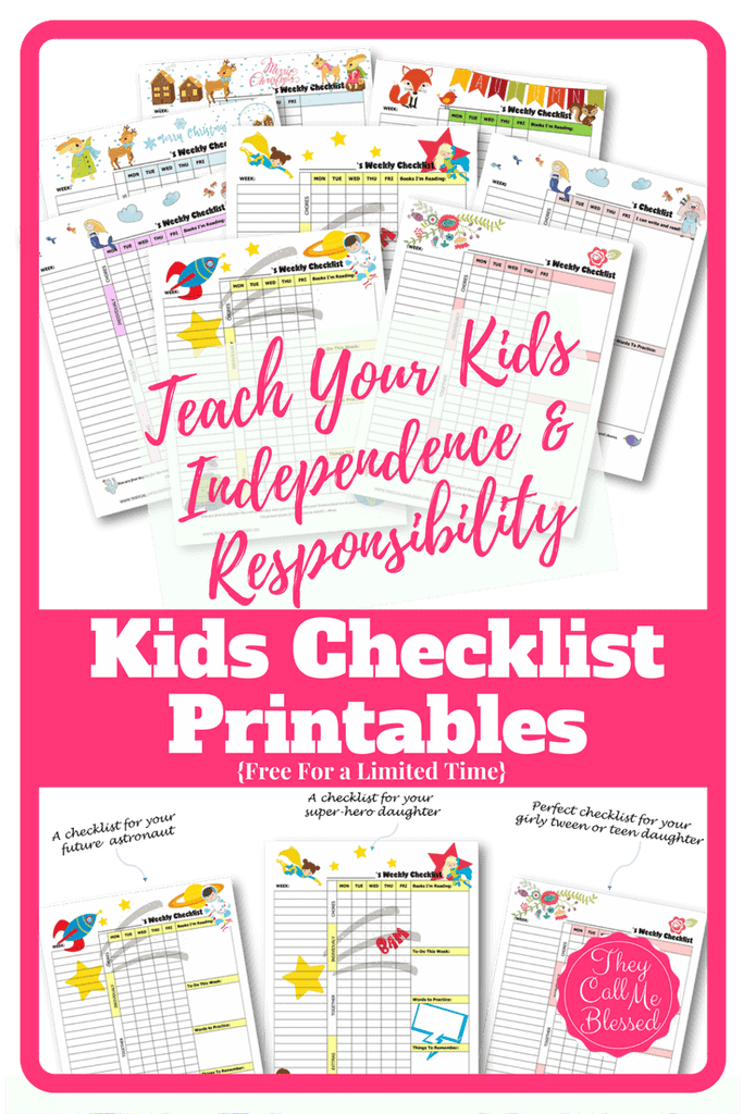 Free Printable Responsibility Checklists for Kids