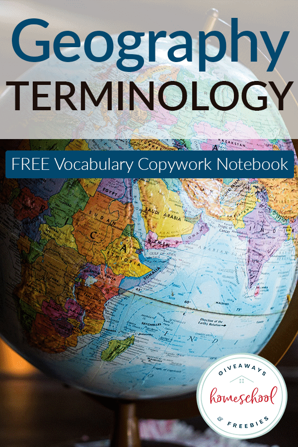 Geography Terms Copywork Notebook