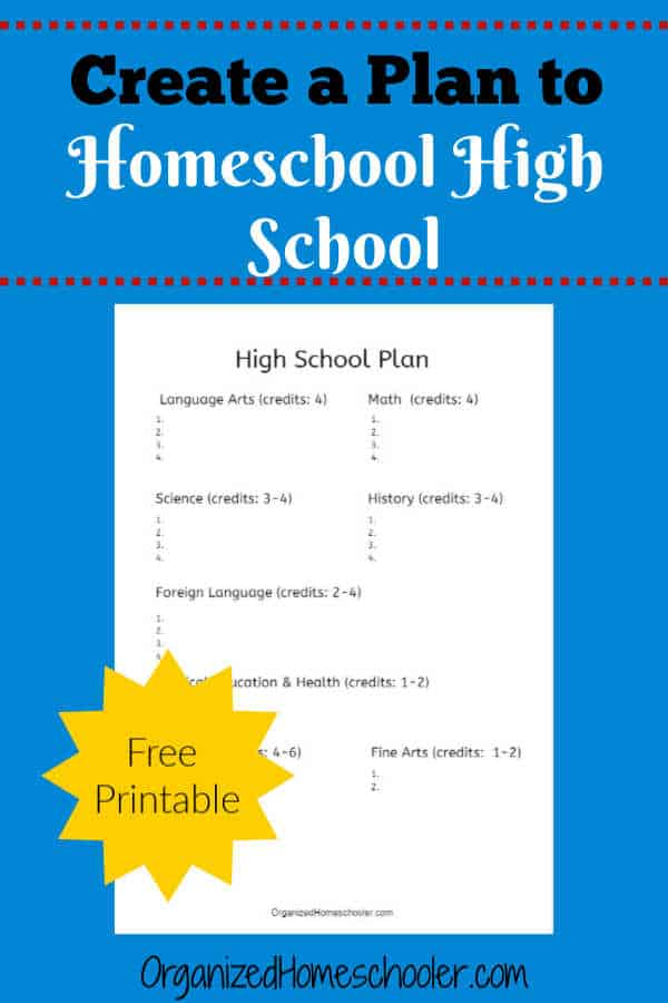 Homeschooling High School Planning Sheet