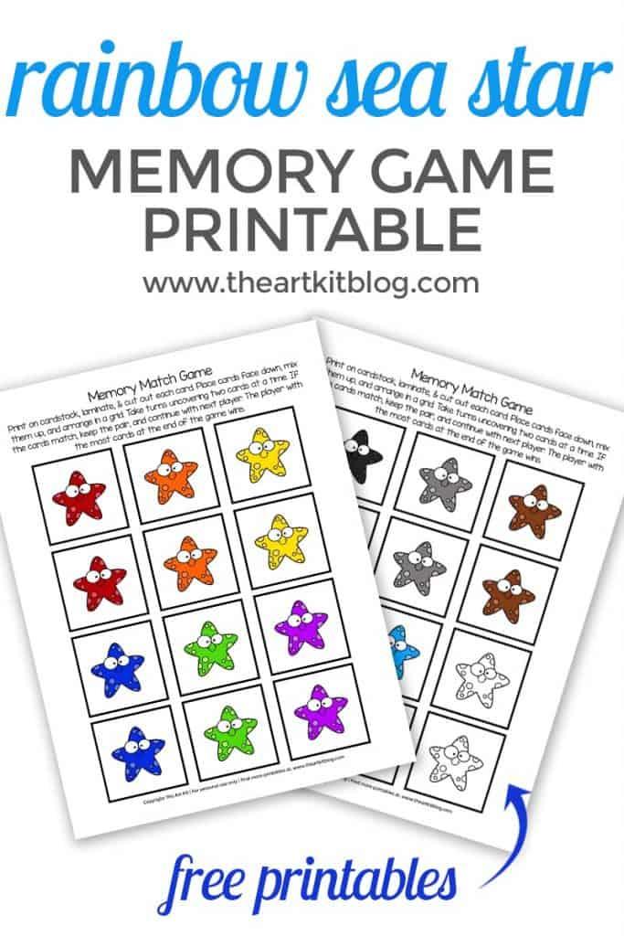 Rainbow Sea Star Memory Game Homeschool Printables For Free