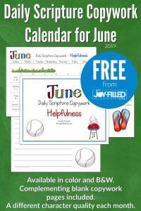 June Daily Scripture Copywork Calendar