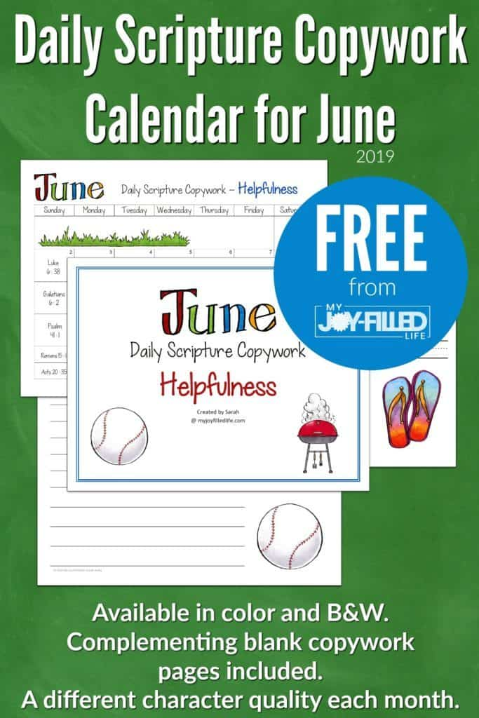 June Daily Scripture Copywork Calendar