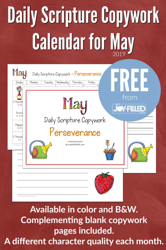 May Scripture Copywork Calendar