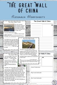 Great Wall of China Research Worksheets