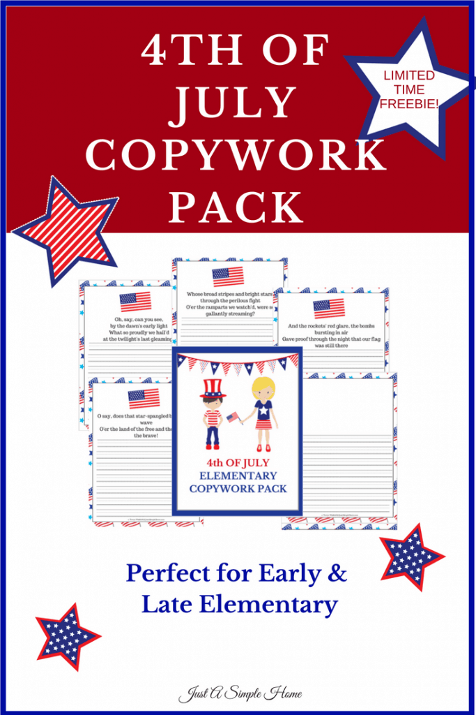 4th of July Copywork Pages