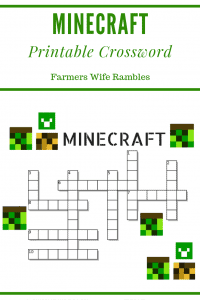 Minecraft Crossword Puzzle