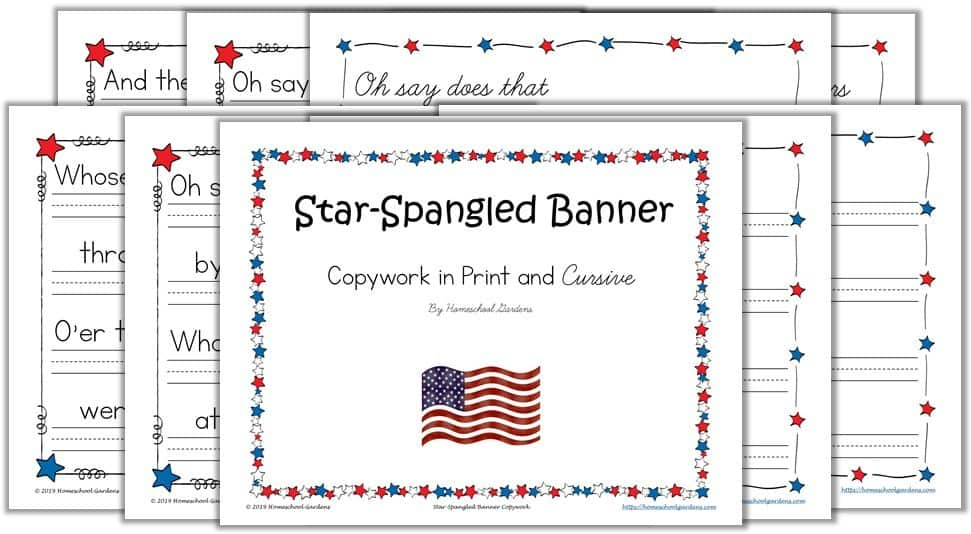 Star Spangled Banner Copywork