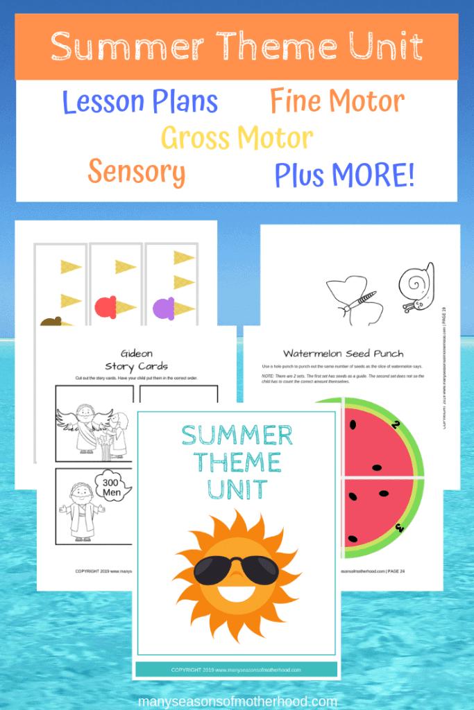 Summer Preschool Theme Printable Pack
