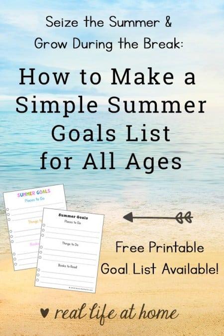 Summer Goals List Printable