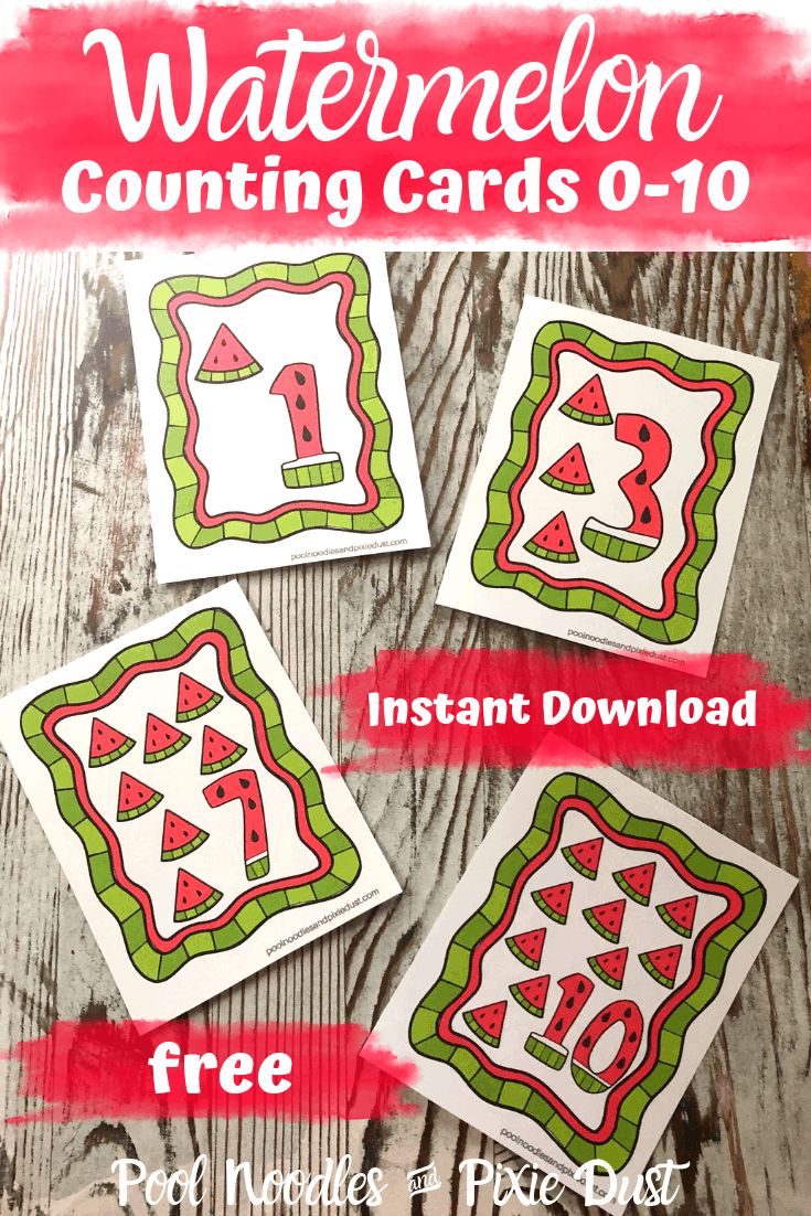 Printable Watermelon Counting Cards 0-10