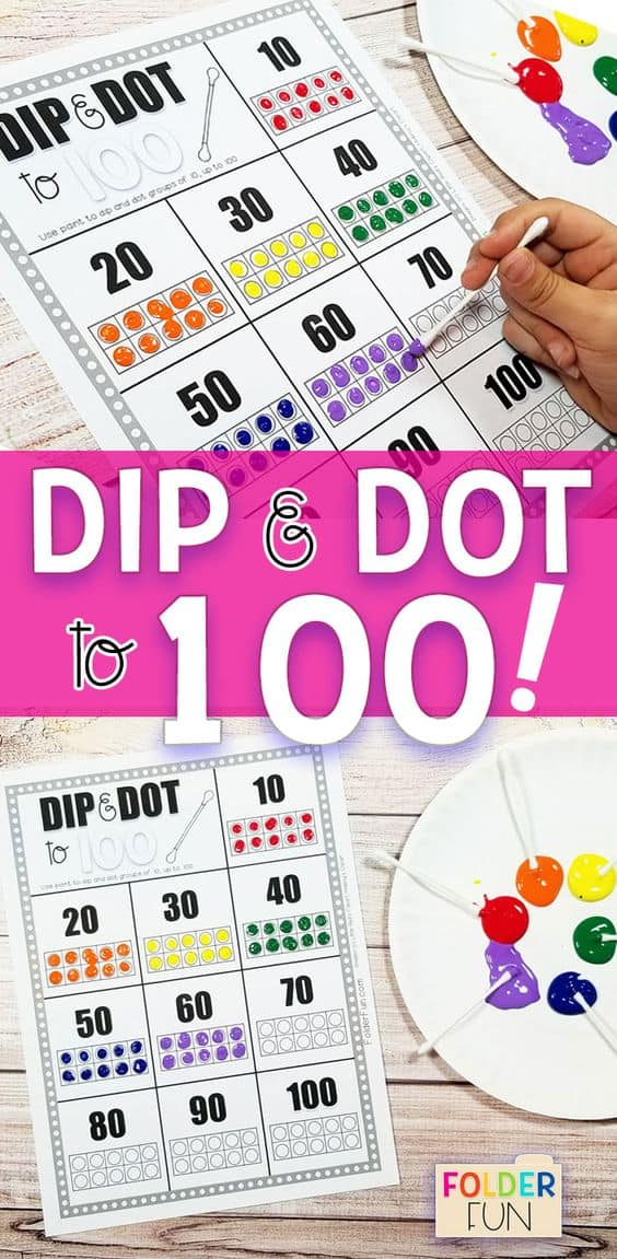 Free Dip & Dot to 100 Worksheet