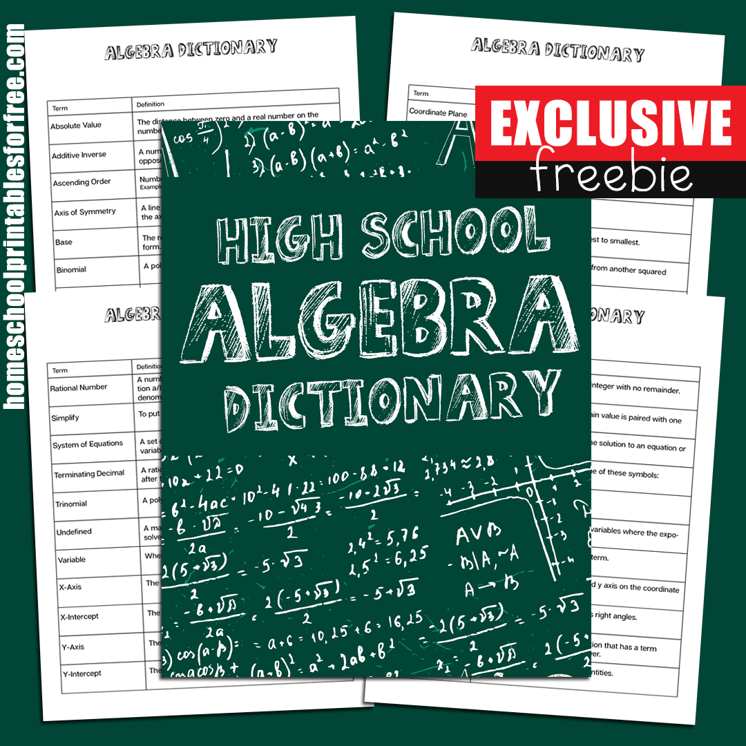 high school algebra dictionary