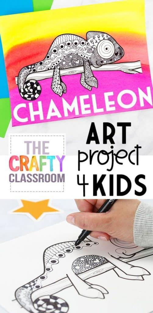 Chameleon Zentangle Art Templates